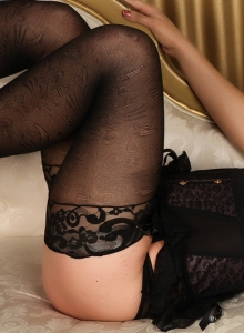 Seductive Ashlie Shows Off Her Perfect Body In A Tight Black Corset And Stockings - Picture 8