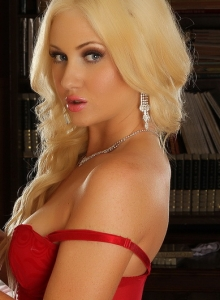 Beautiful Blonde Ashlie Shows Off Her Perfect Body In A Sexy Stunning Red Lace Teddy With White Fishnet Stockings - Picture 4