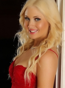 Beautiful Blonde Ashlie Shows Off Her Perfect Body In A Sexy Stunning Red Lace Teddy With White Fishnet Stockings - Picture 6