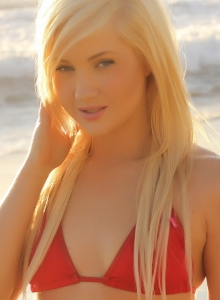 Blonde Babe Ashlie Teases At The Beach In A Skimpy Red String Bikini - Picture 2
