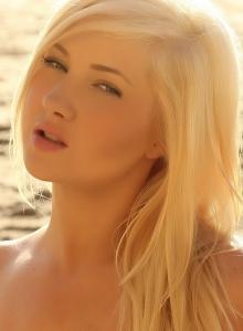 Blonde Beach Babe Ashlie  In A Skimpy Strapless Shinny Bikini - Picture 11